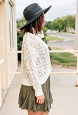 509 Broadway Crochet High Cowl Neck Sweater