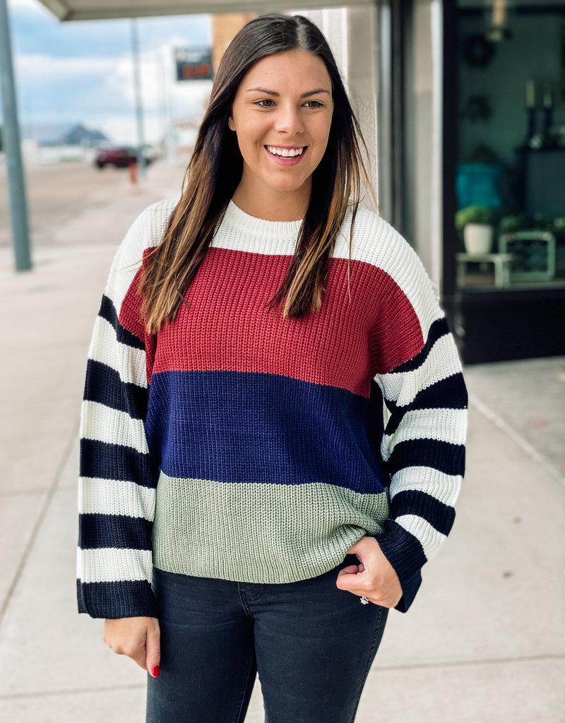 509 Broadway Color Block Sweater Top