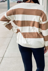 509 Broadway Stripe V-Neck Knit Top