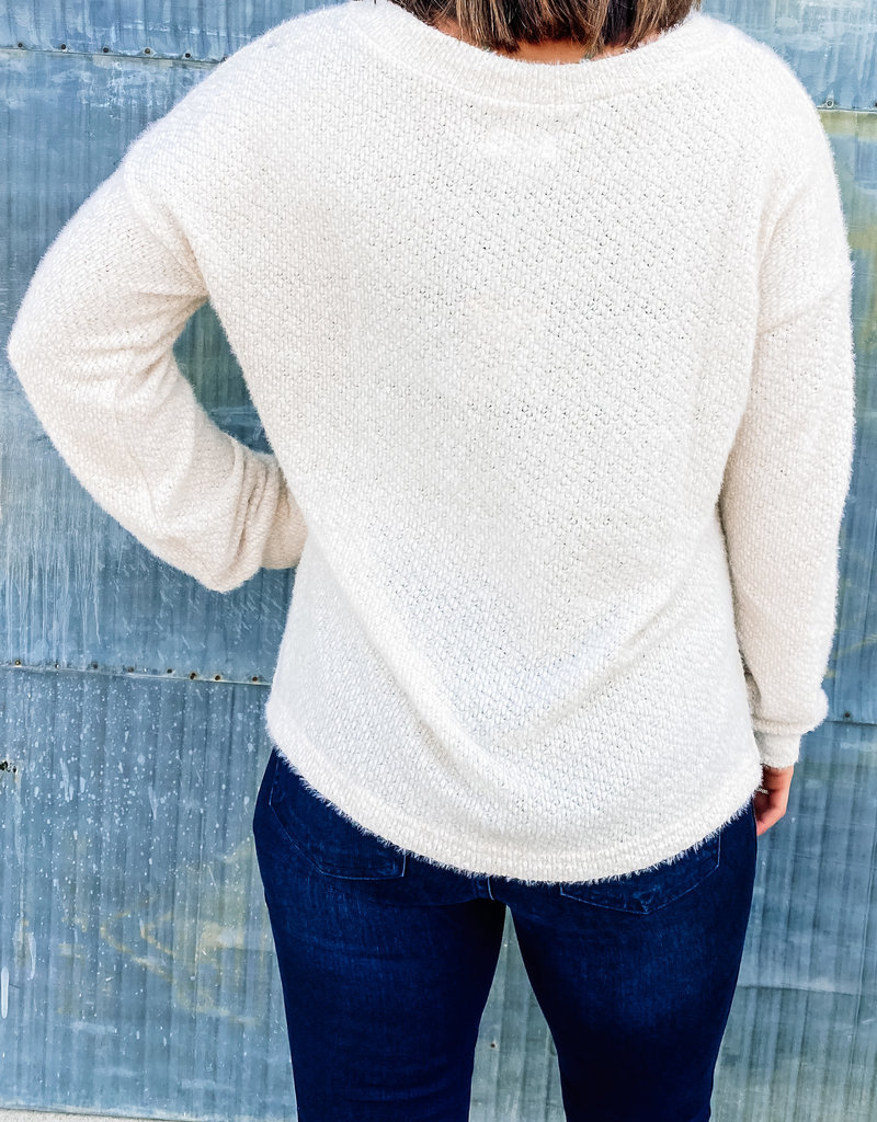 509 Broadway Henley Detailed Knit Top