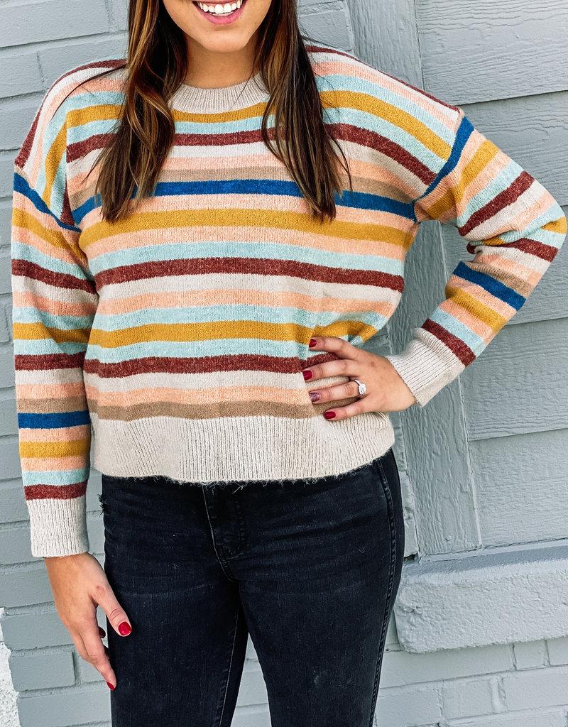 509 Broadway Multi Stripe Knit Sweater