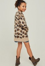 509 Broadway Girls Leopard Knit Sweater Cardigan