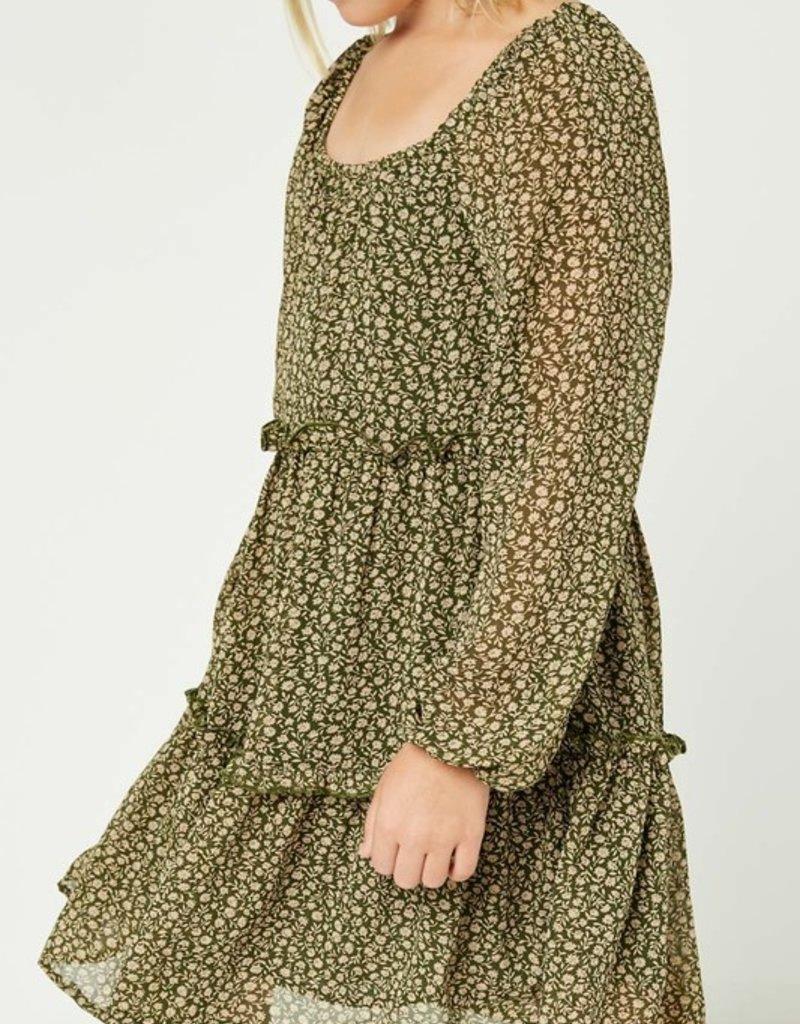 509 Broadway Girls Tiered Ditsy Print L/S Dress