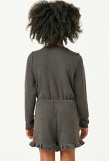 509 Broadway Girls Textured Rib Button Romper