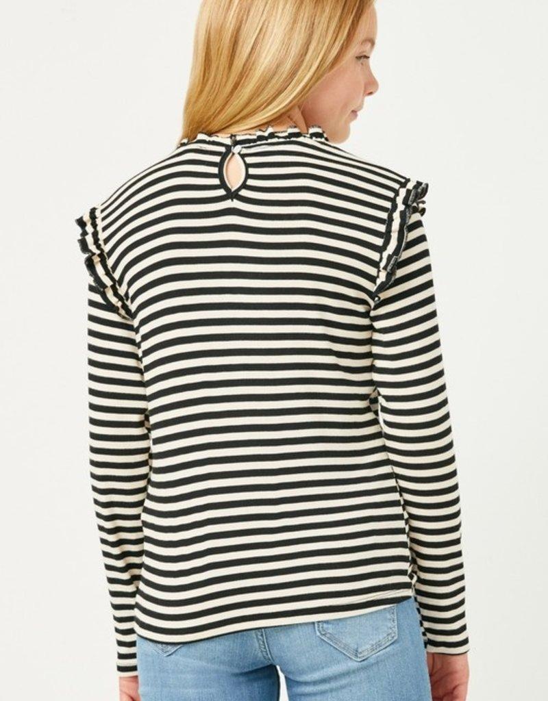 509 Broadway Girls Textured Stripe L/S Top