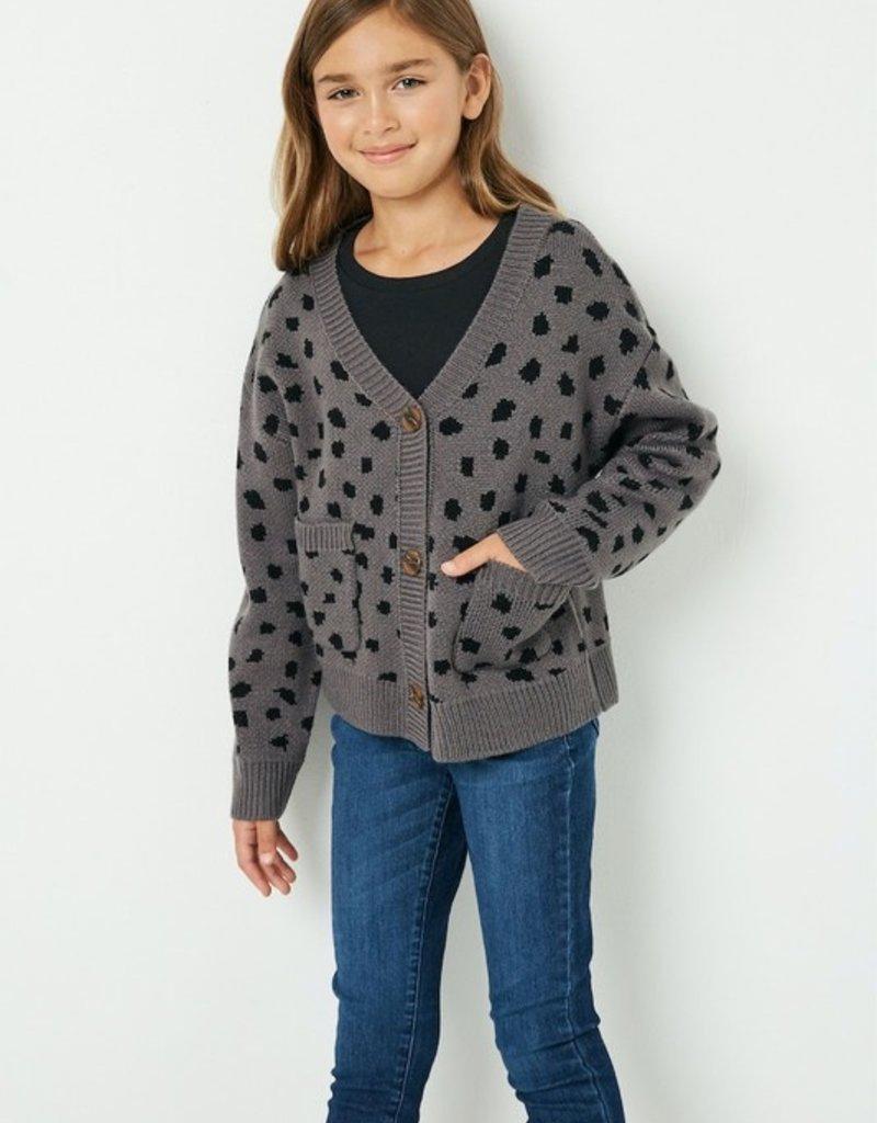 509 Broadway Girls Animal Print Sweater Cardigan