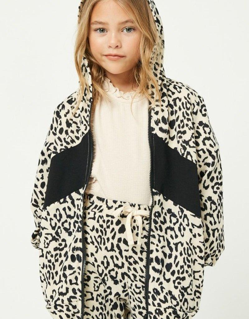 509 Broadway Girls Leopard Zip-Up Hoodie