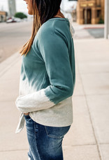 509 Broadway Dip Dye Front Tie Sweatshirt