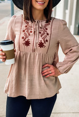 509 Broadway Embroidered Texture Gauze Babydoll Top