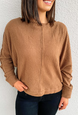 509 Broadway Boat Neck Brushed Thermal Top