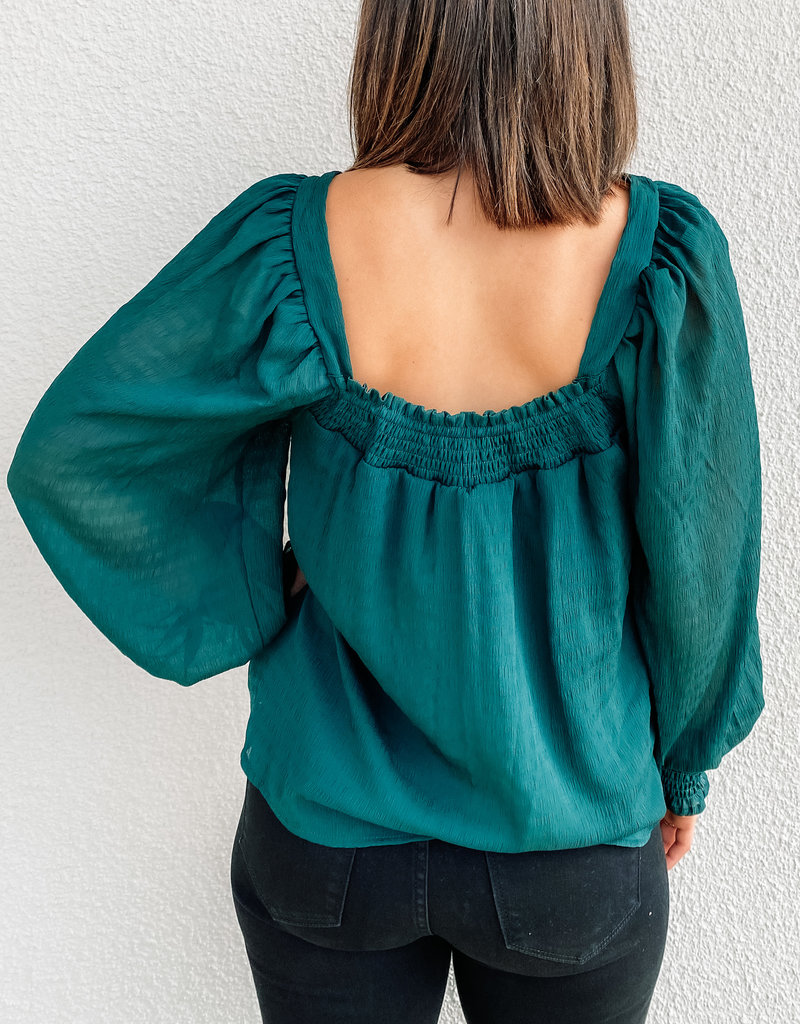 509 Broadway Puff Sleeve Squared Neck Top
