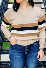 509 Broadway Varsity Sleeve Colorblock Sweater
