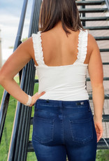 509 Broadway Ruffled Shoulder Strap Bodysuit
