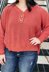 509 Broadway V-Neck Button Sweater