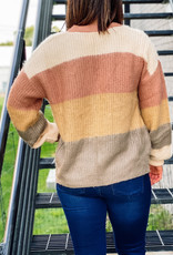 509 Broadway Fuzzy Yarn Multi Stripe Cardigan