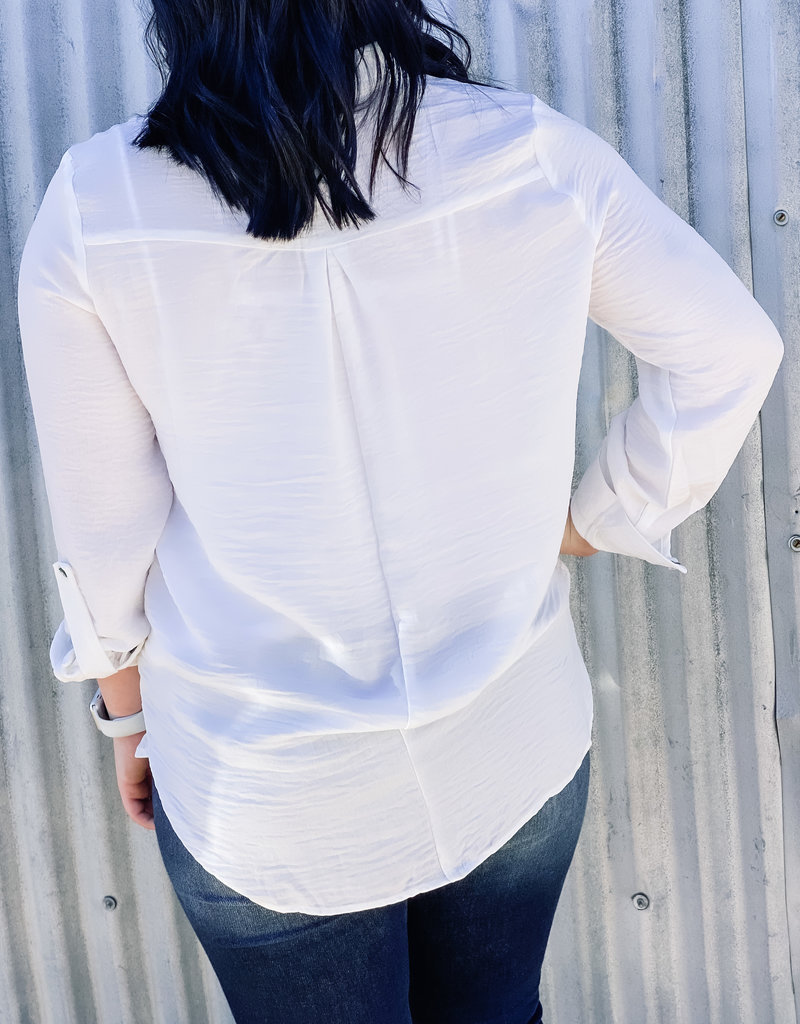 509 Broadway Roll Up Sleeve Button Down Top