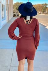 509 Broadway Balloon Sleeve Scoop Sweater Dress