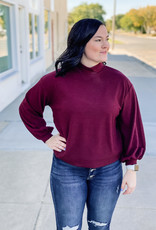 509 Broadway Textured Mock Neck Knit Sweater