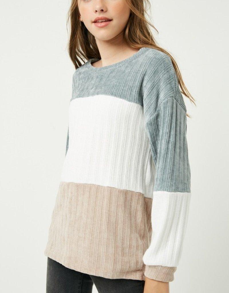 509 Broadway Girls Color Block Sweater Top