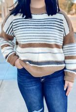 509 Broadway Long Sleeve Stripe Sweater Top