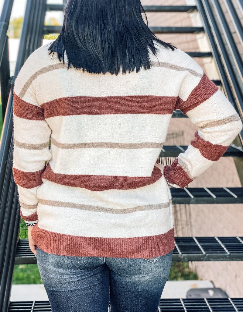 509 Broadway Crew Neck Multi Stripe Sweater