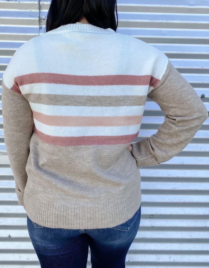 509 Broadway Color Block Stripe Pullover Sweater
