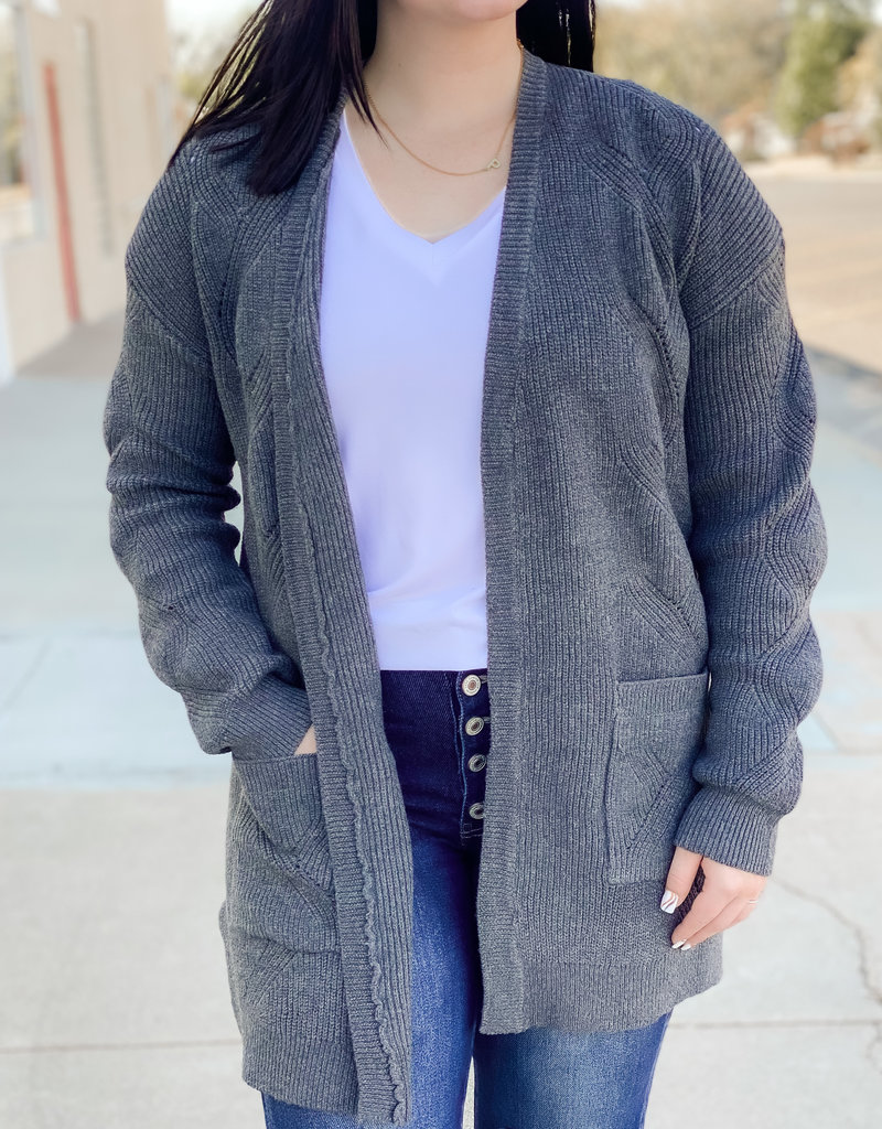 509 Broadway Texture Knit Lace Up Back Cardigan