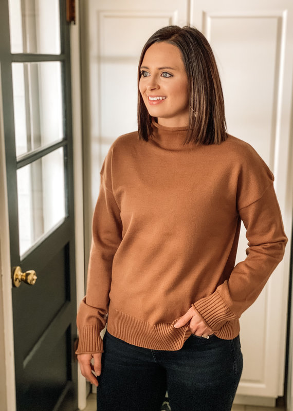 509 Broadway Mock Neck Soft Sweater