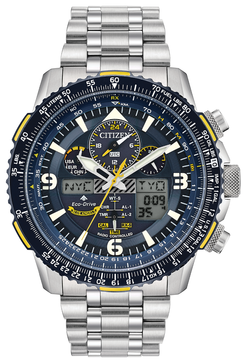 CITIZEN SKYHAWK A T BLUE ANGEL SS STRAP JY8078 52L