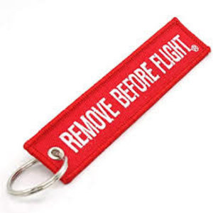 EMBROIDERED REMOVE BEFORE FLT KEYCH