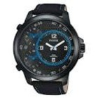 PULSAR WATCH WITH BLACK FACE WITH BLUE HANDS AND BLACK BAND PX8009