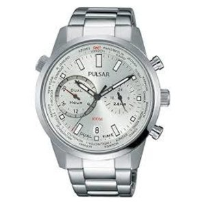 PULSAR WATCH WITH WHITE FACE AND SILVER BAND PY7001