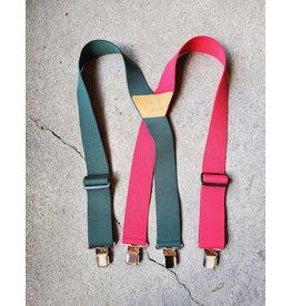 """Lynn Valley Mfg Lynn Valley 2"""" Heavy Duty Clip Suspender - Red & Green"""