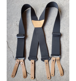 "Lynn Valley Mfg Lynn Valley 2"" Heavy Duty Button Suspender - Black"