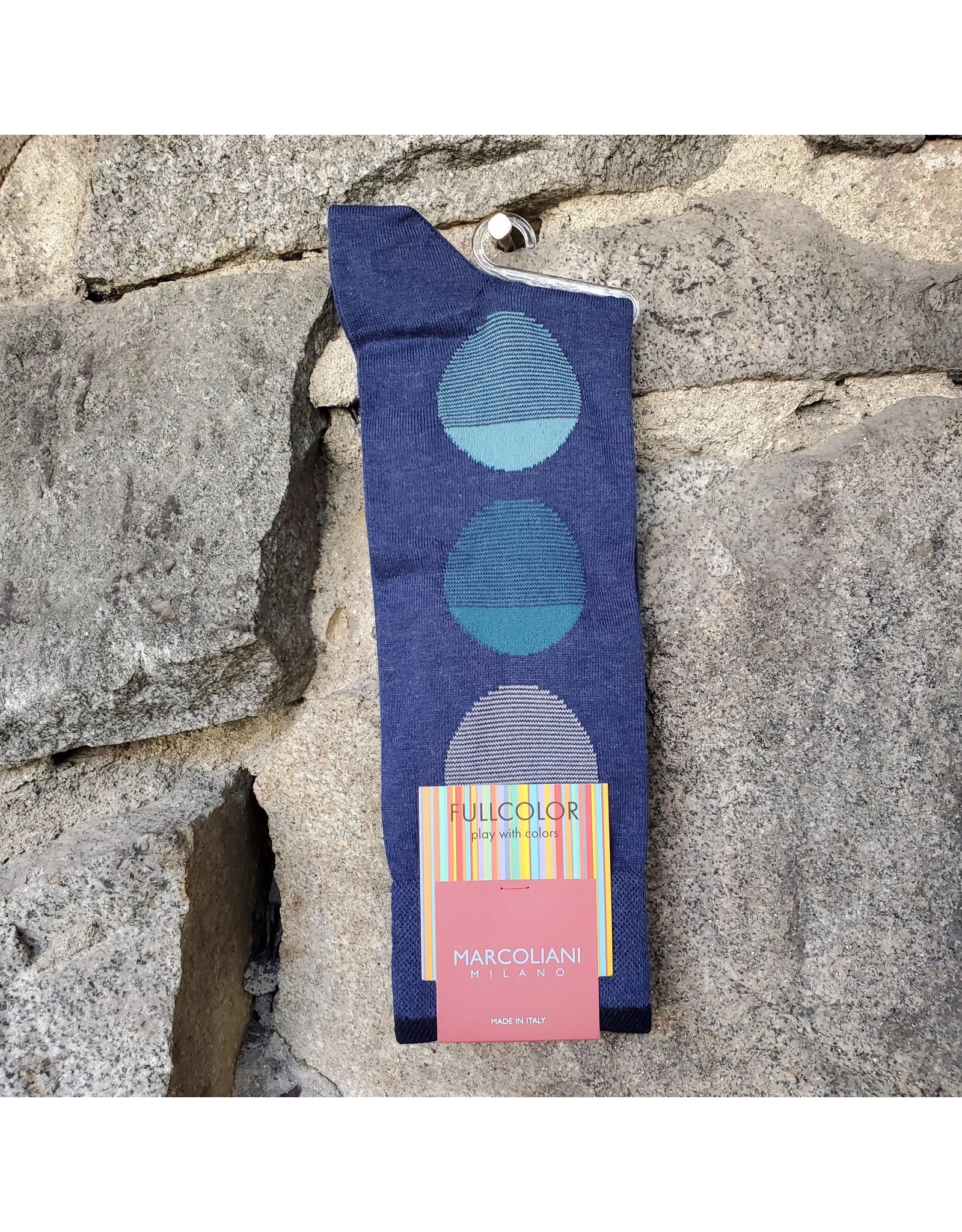 Marcoliani Marcoliani Pima Cotton Socks - Denim Blue Striped Balloons