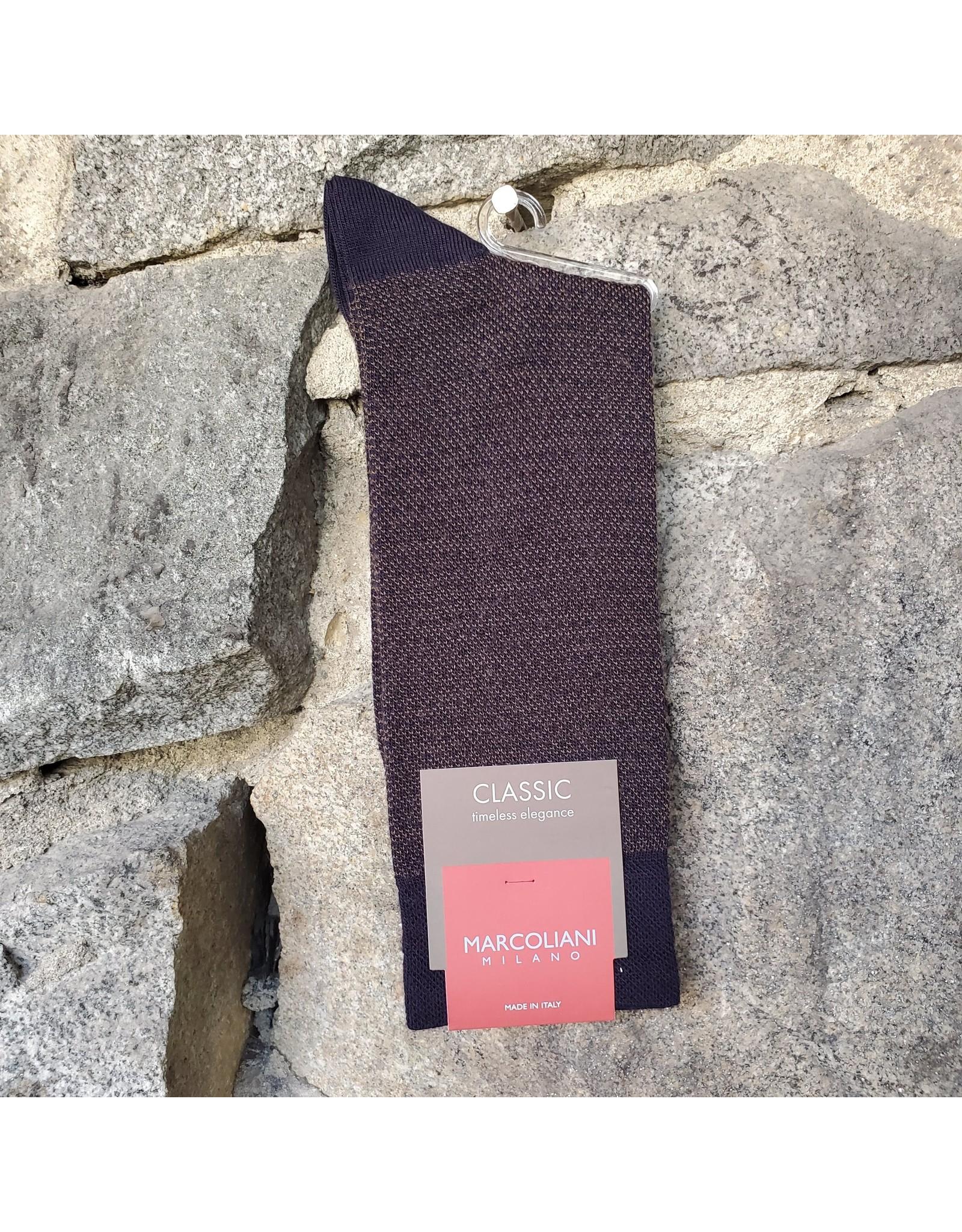 Marcoliani Marcoliani Extrafine Merino Socks - Navy/Brown Birdesye & Dots