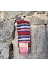 Marcoliani Marcoliani Extrafine Merino Socks - Blue/Red Stripe