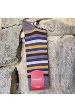 Marcoliani Marcoliani Extrafine Merino Socks - Blue/Orange Stripe