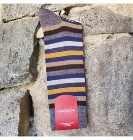 Marcoliani Marcoliani Extrafine Merino Socks - Blue/Orange Stripe