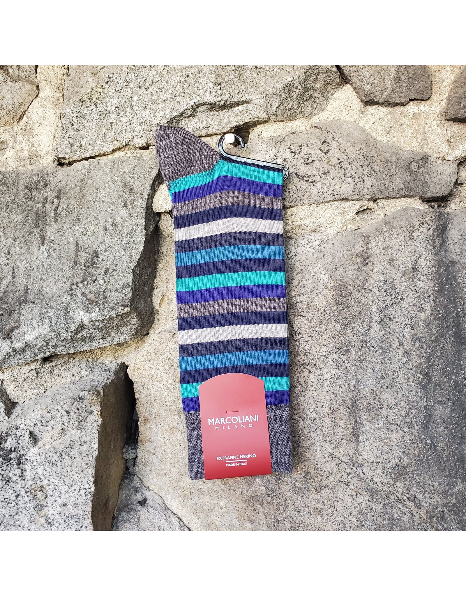Marcoliani Marcoliani Extrafine Merino Socks - Blue Stripe Mix