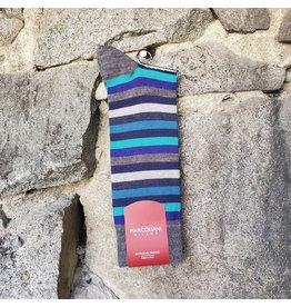 Marcoliani Marcoliani Extrafine Merino Socks - Blue Stripe Mix