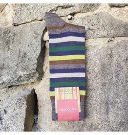 Marcoliani Marcoliani Extrafine Merino Socks - Green Stripe Mix