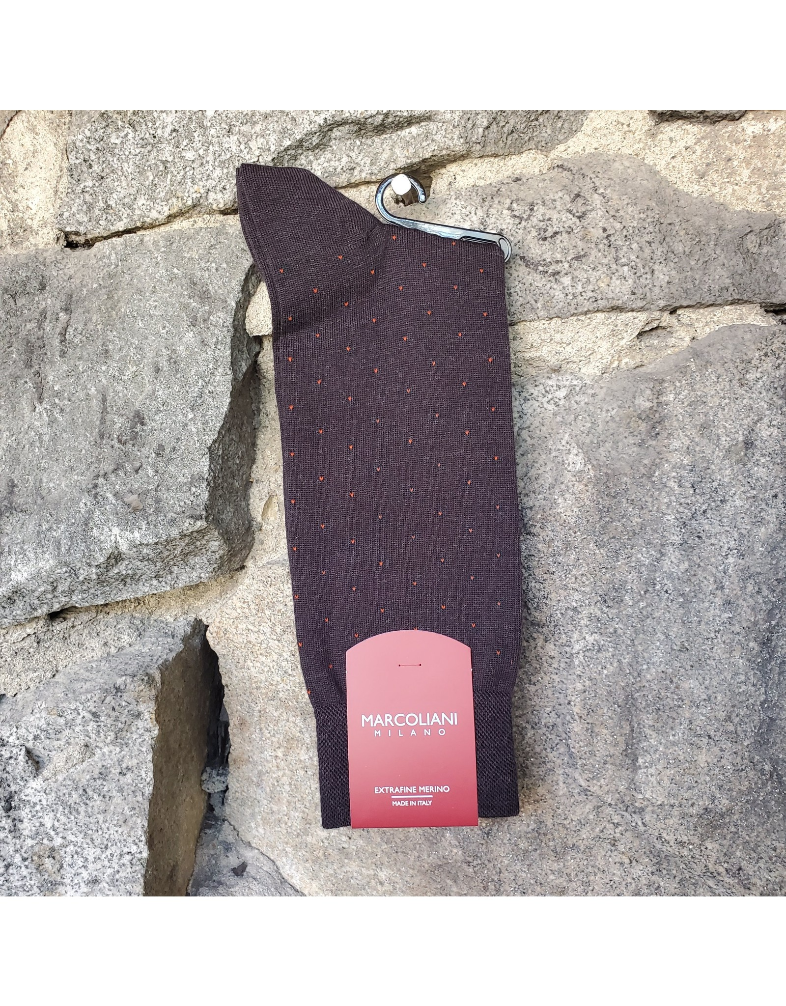 Marcoliani Marcoliani Extrafine Merino Socks - Charcoal/Ginger Pin