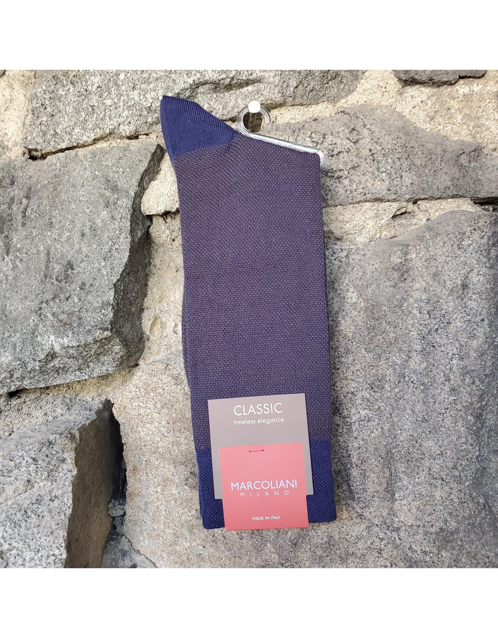 Marcoliani Marcoliani Extrafine Merino Socks - Navy/Brown Birdseye