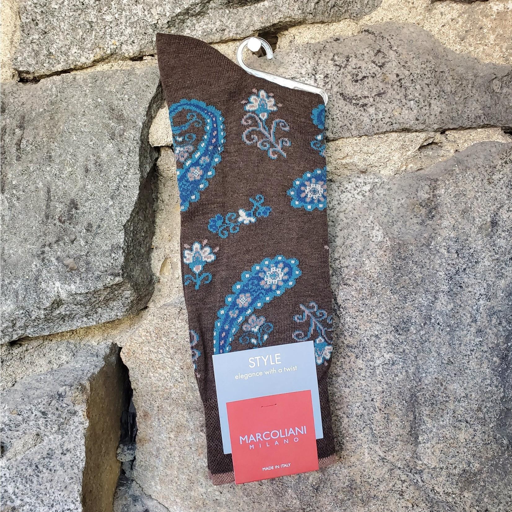 Marcoliani Marcoliani Pima Cotton Socks - Coffee Jaipur Paisley