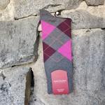 Marcoliani Marcoliani Pima Cotton Socks - Asphalt/Plum Argyle