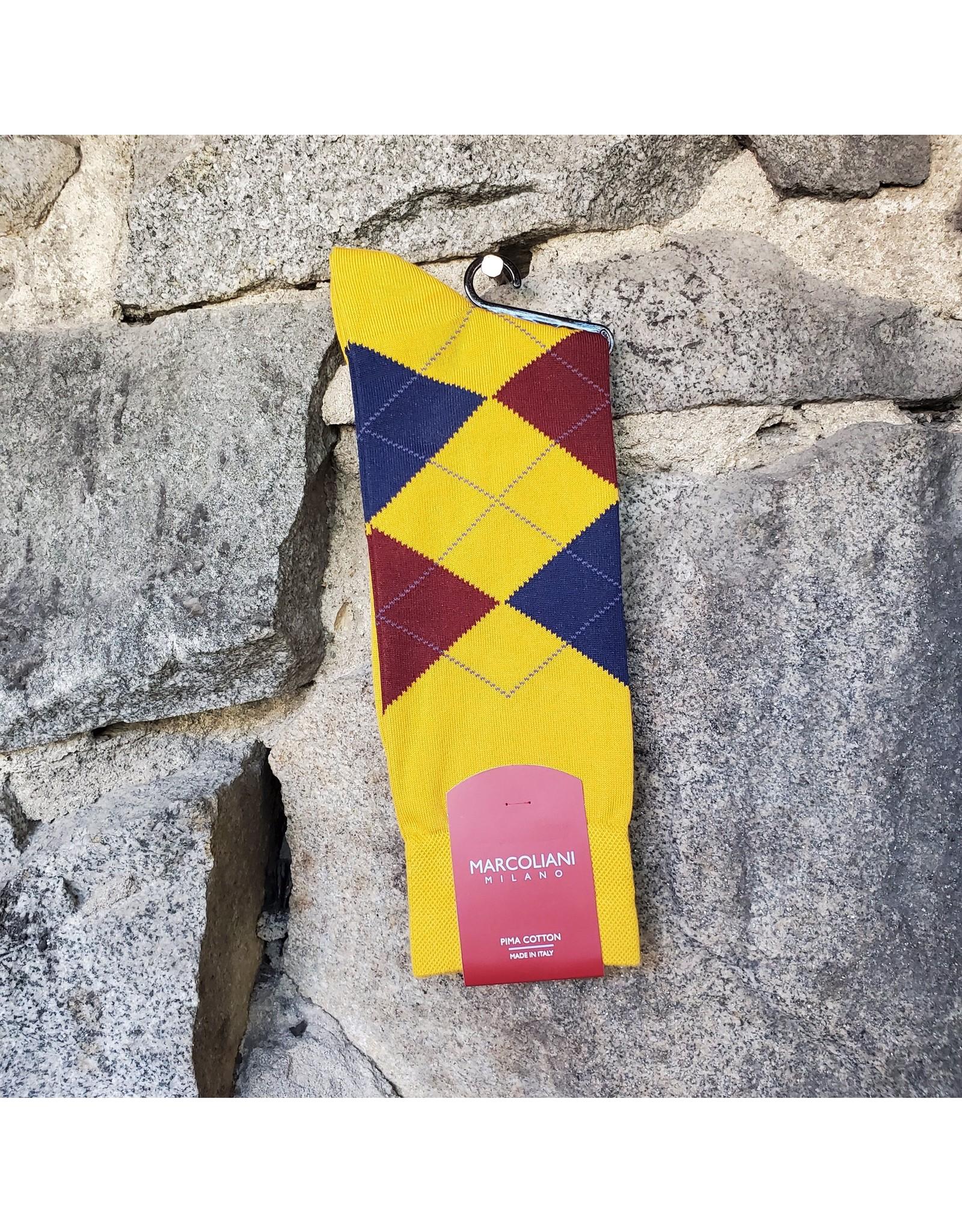 Marcoliani Marcoliani Pima Cotton Socks - Mustard Argyle