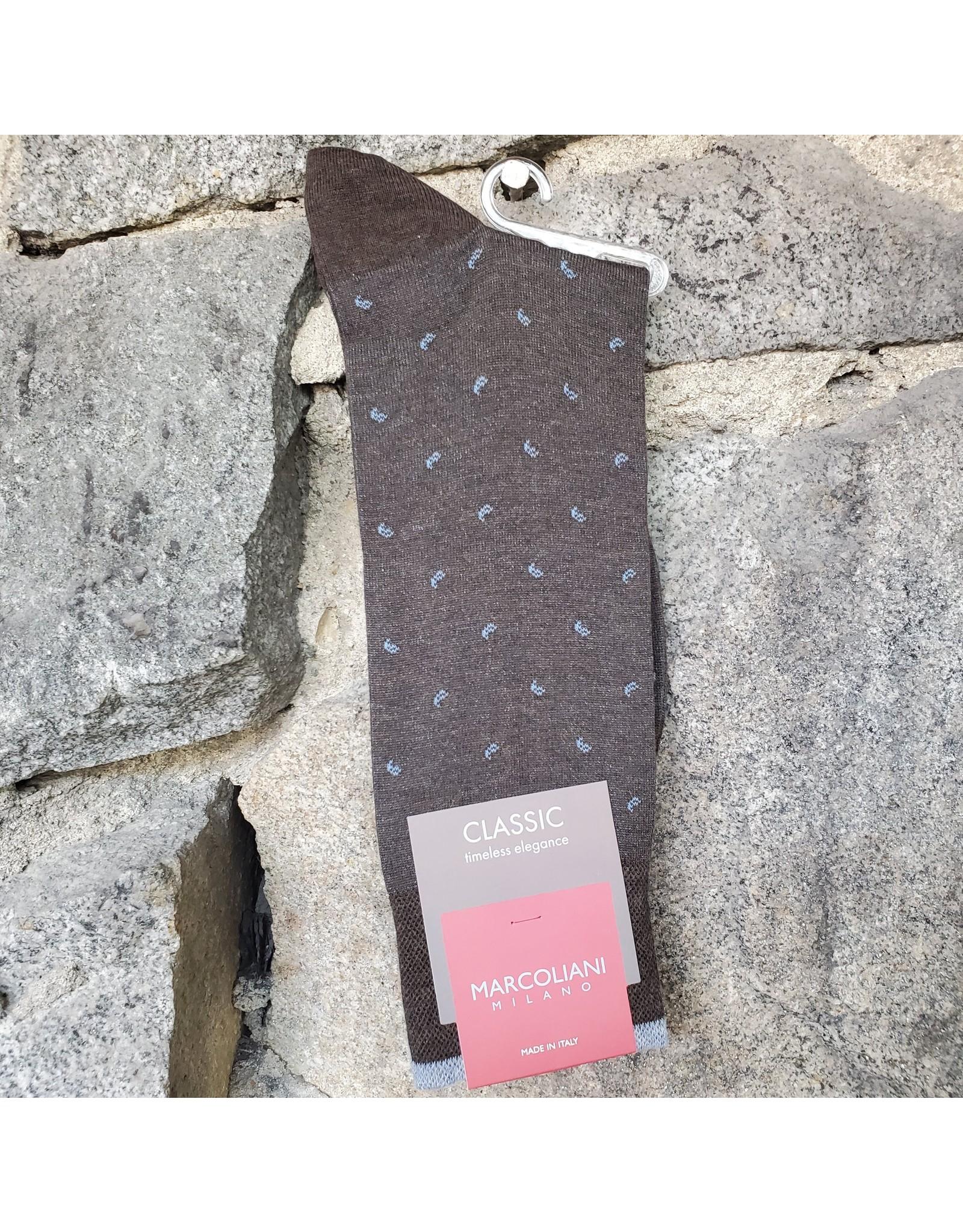 Marcoliani Marcoliani Pima Cotton Socks - Coffee Lisle Micro Paisley