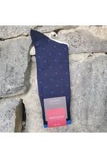 Marcoliani Marcoliani Pima Cotton Socks - Navy Lisle Micro Paisley