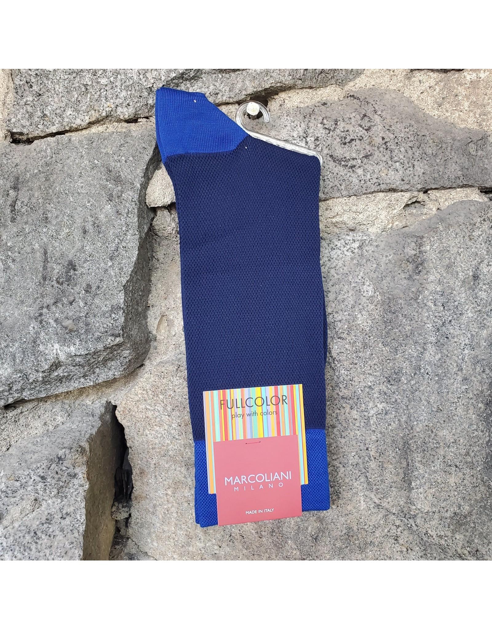 Marcoliani Marcoliani Pima Cotton Socks - Navy/Blue Contrast Piqué